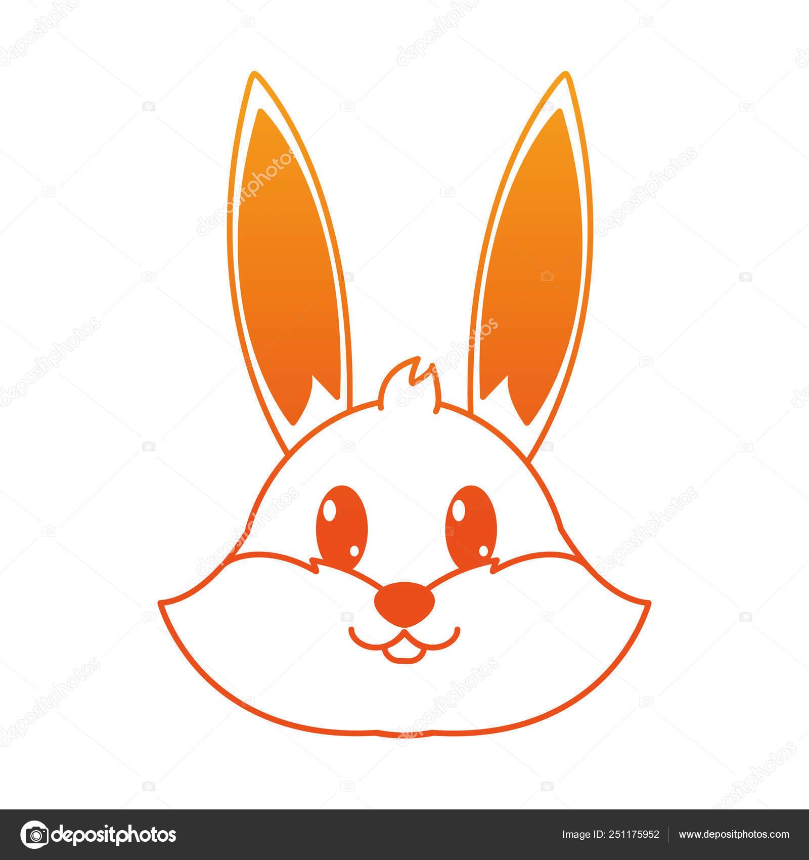 オレンジ色のラインのウサギ頭のかわいい動物キャラクター