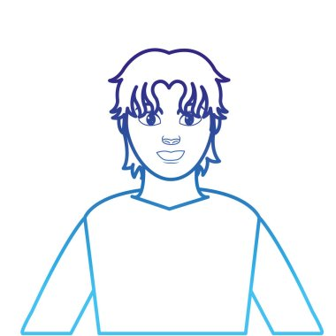 degraded line profile man with shirt and hairstyle design
