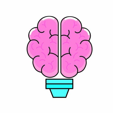 Brain and bulb of Mental health theme Isolated design Vector illustration