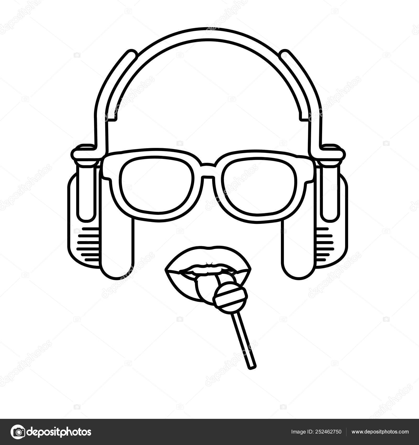 Retro Sexy Pop Art Lips Earpod Wearing Sunglasses Cartoon Vector Stock Vector C Stockgiu 252462750