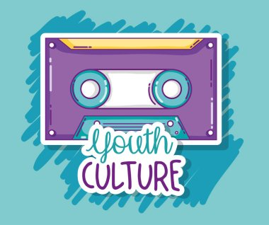 Youth culture vintage music cassette cartoons vector illustration graphic design