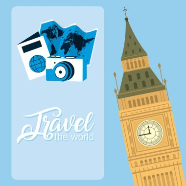 Travel the world card with big ben clock monument and symbols vector illustration graphic design
