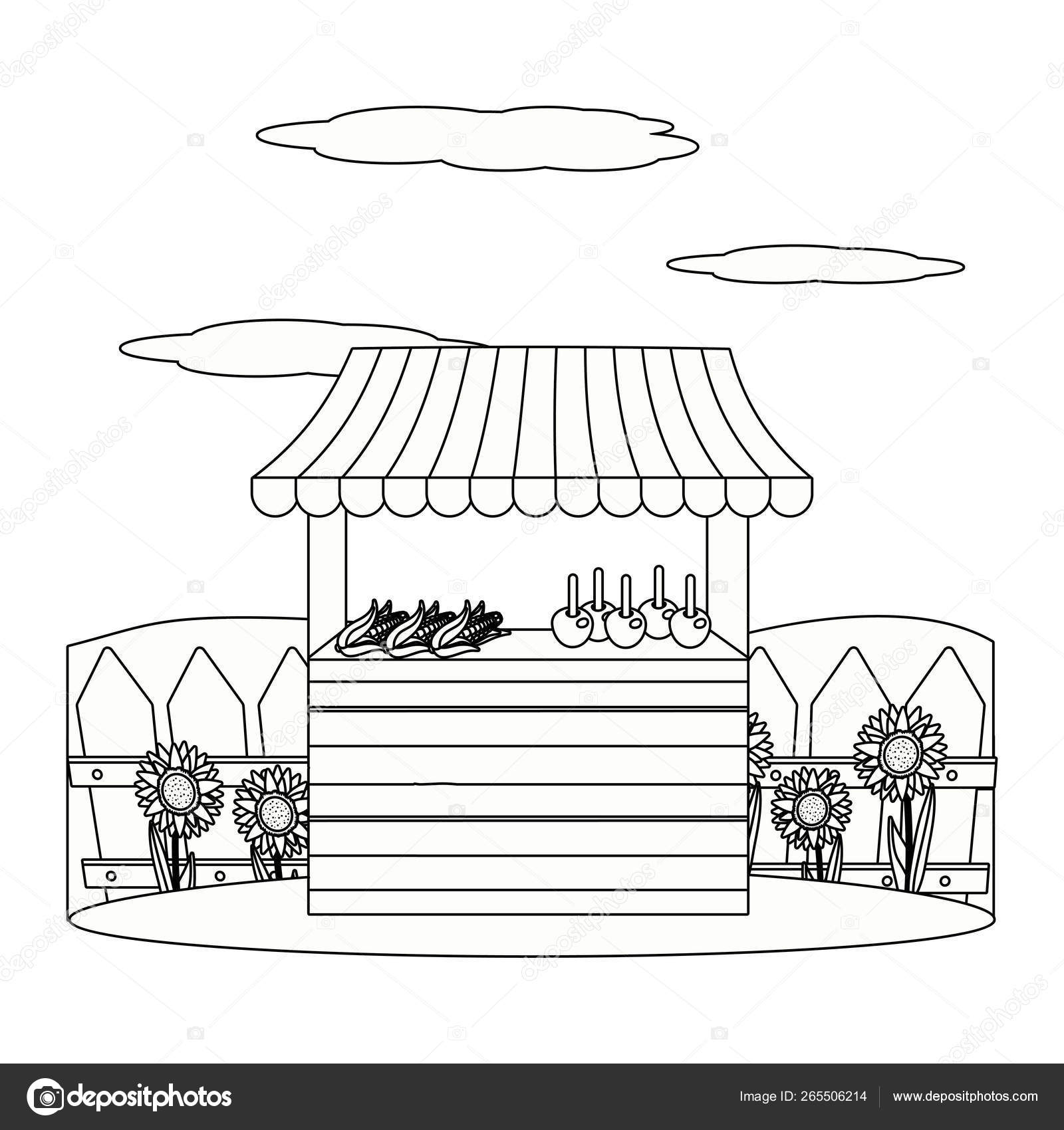 De Madera Mercado Establo Dibujos Animados Vector De Stock