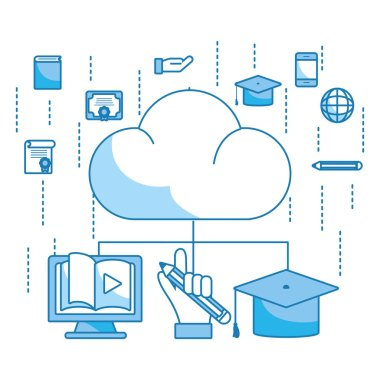 clouds with online education items