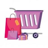 Bevásárlókocsi és táskák ikon kialakítás