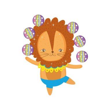 cute lion circus juggling balls