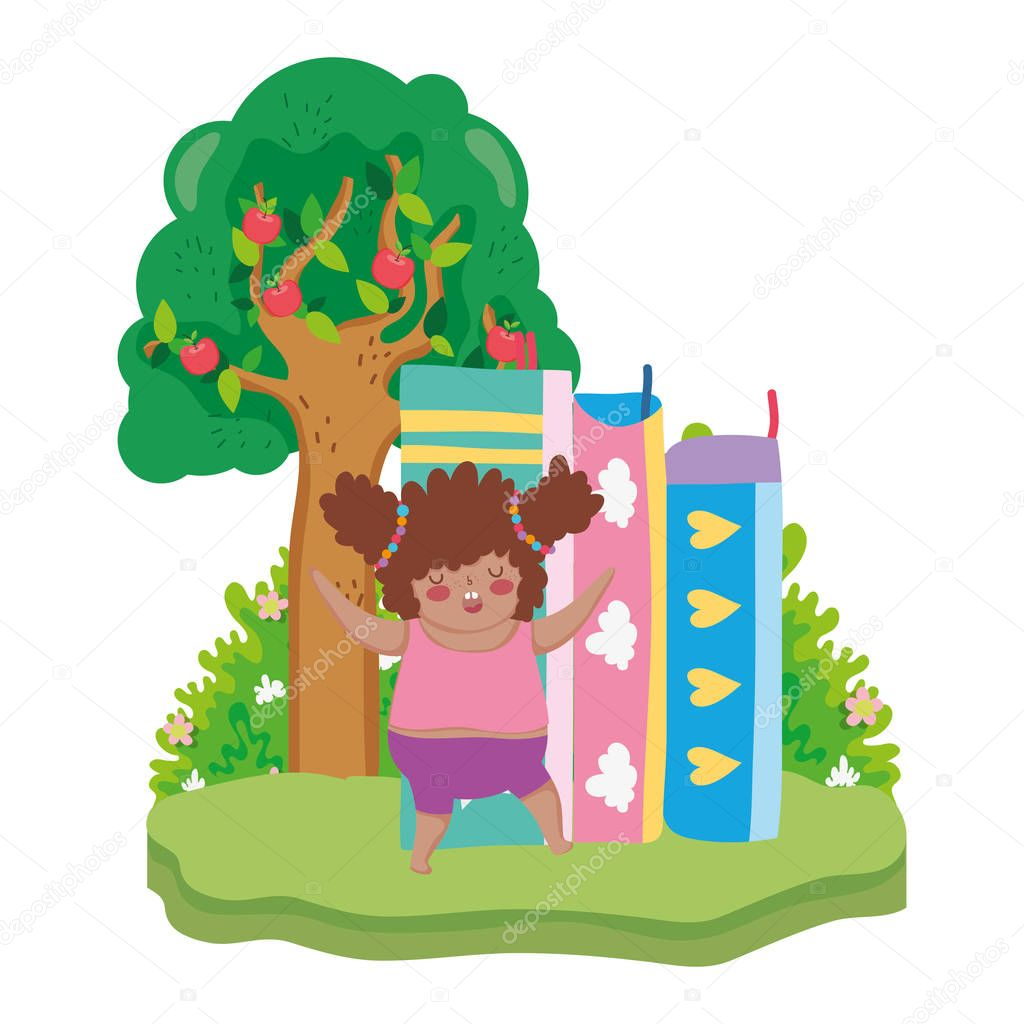 Little chubby girl with pile books in the landscape