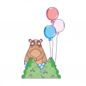 rozkošný medvěd s balónky helium plovoucí