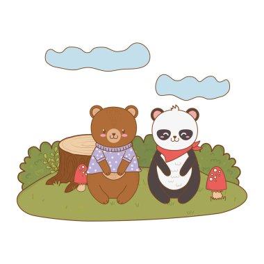 cute bear panda in the field woodland character