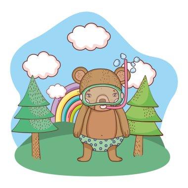 cute little bear with snorkel in the field