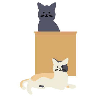 cute cats mascots with paper bag