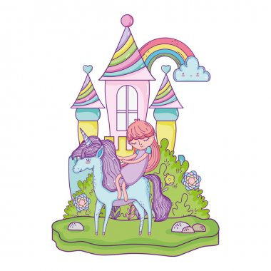 unicorn and princess in the castle with rainbow