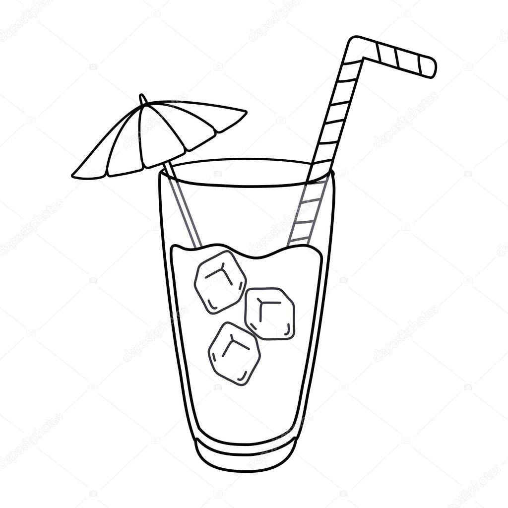 cocktail drink with straw umbrela and ice vector illustration editable design in black and white premium vector in adobe illustrator ai ai format encapsulated postscript eps eps format cocktail drink with straw umbrela and