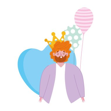happy fathers day, bearded dad with balloons heart decoration