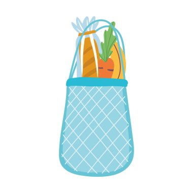 Eco friendly bag with bread and vegetables, isolated icon design white background vector illustration icon