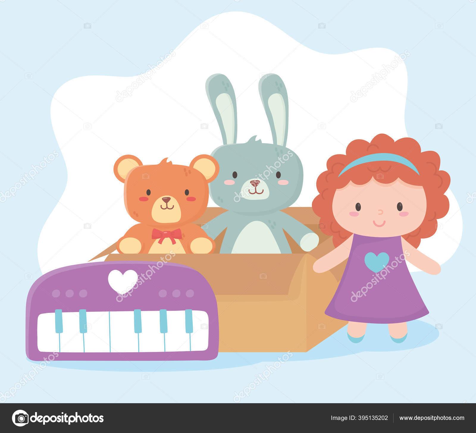 Mainan Anak Anak Kotak Kardus Dengan Boneka Kelinci Beruang Dan Objek Piano Kartun Lucu Stok Vektor C Stockgiu 395135202