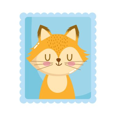 cute little fox animals cartoon postage mail stamp