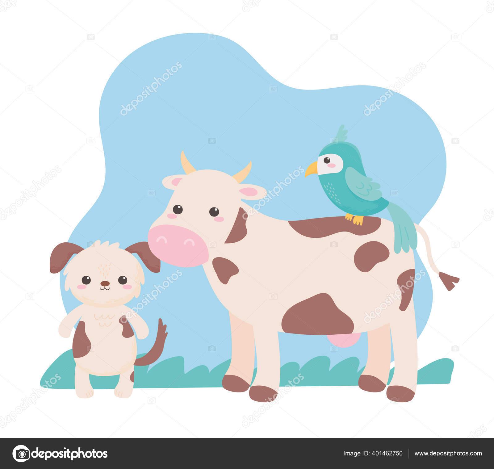 Lucu Anjing Sapi Dan Burung Beo Kartun Hewan Di Lanskap Alam Stok Vektor C Stockgiu 401462750