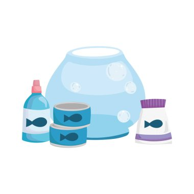 Pet shop, glass bowl medicine bottle pack food animal domestic cartoon vector illustration icon