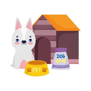 Pet shop, white dog food bowl pack and house animal domestic cartoon vector illustration icon