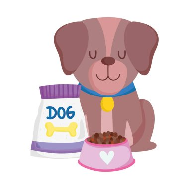 Pet shop, brown dog sitting with food bowl and pack animal domestic cartoon vector illustration icon