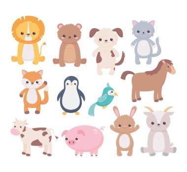 cute dog goat bear cat parrot horse pig penguin cow cartoon animals icons