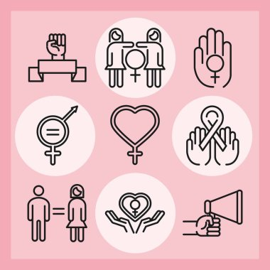 Feminism movement icon, female rights pictogram line icons pack vector illustration icon