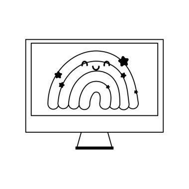 monitor computer with rainbow in screen isolated icon line style