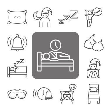 Insomnia health condition, pack icons avatar bed pillow clock linear style vector illustration icon