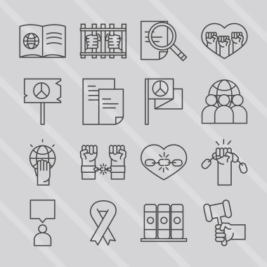 International human rights day awareness mounth pack icons vector illustration line style icon