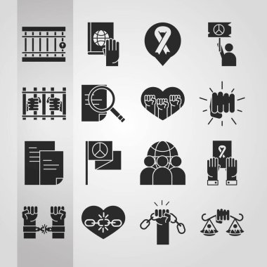 International human rights day awareness mounth pack icons vector illustration silhouette icon style icon