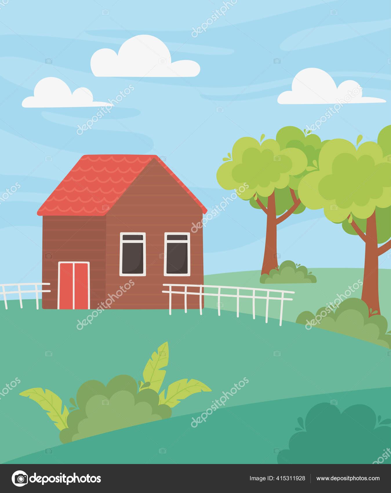 Lansekap Pondok Dengan Pagar Pohon Kebun Dan Padang Rumput Kartun Stok Vektor C Stockgiu 415311928