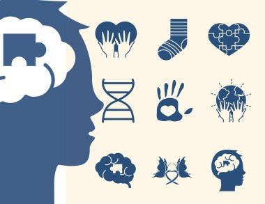World down syndrome day, support awareness pack icons vector illustration silhouette style icon