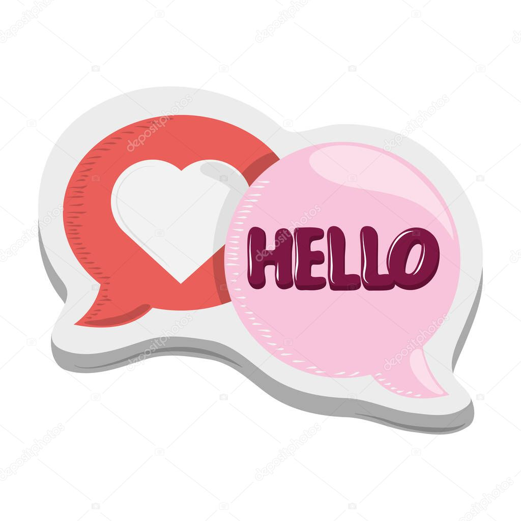 Hello love heart bubbles sticker funny cartoon design vector illustration vector illustration icon