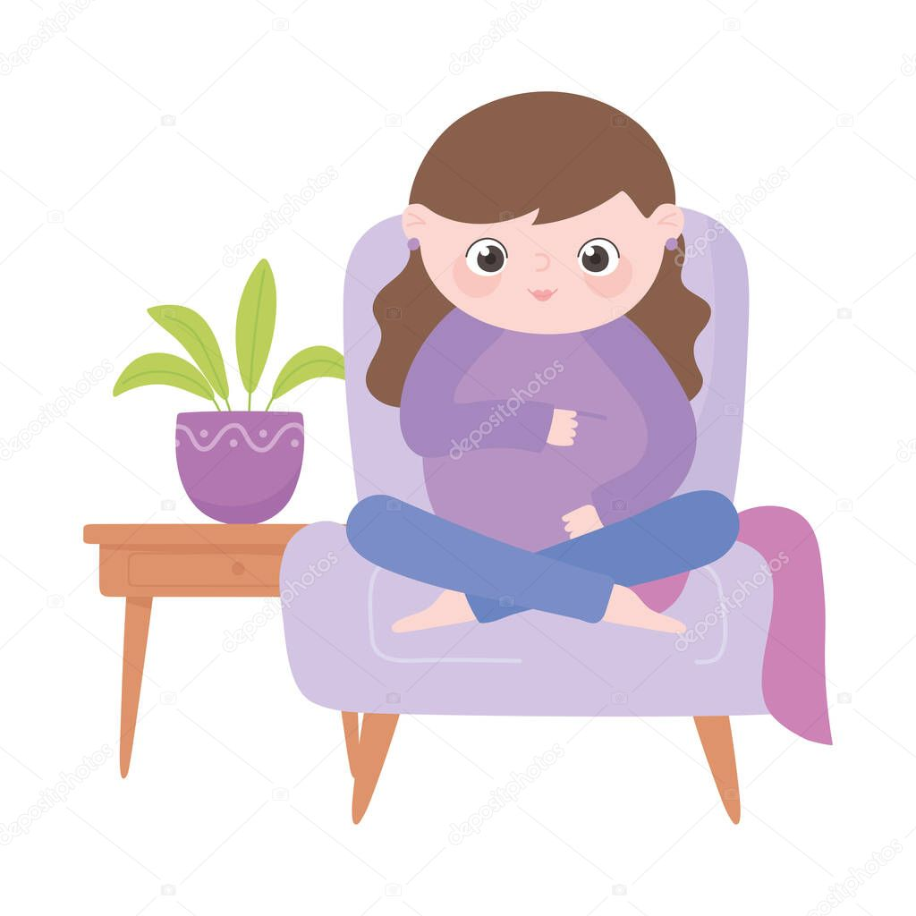 Pregnancy and maternity, cute pregnant woman sitting on chair cartoon vector illustration icon