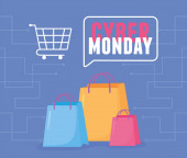 cyber monday, shopping bags and cart virtual maket