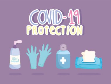 Covid 19 protection gloves tissue paper and disinfect bottles icons vector illustration icon