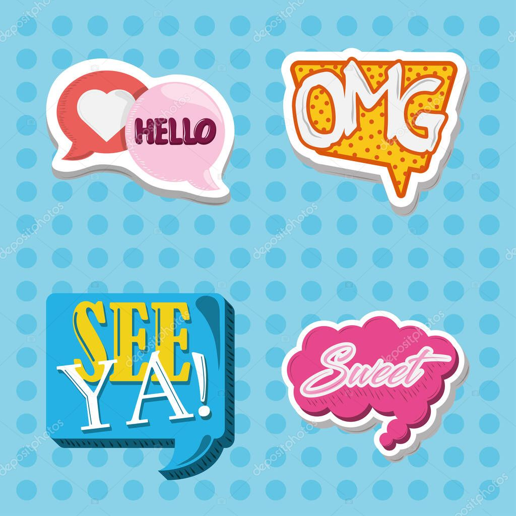 Sticker comic letters decoration fashion style icons dots background vector illustration icon