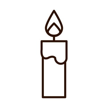 Burning candle light vector illustration line icon style icon
