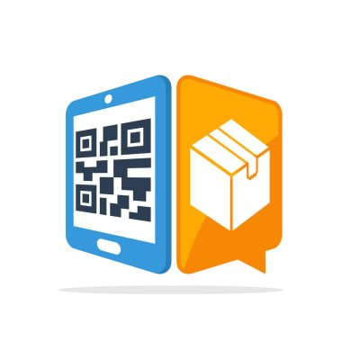 Vector illustration icon with the concept of scanning QR codes with smartphones to access package item data information