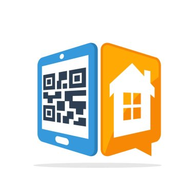 Vector illustration icon with the concept of scanning QR codes with smartphones to access home data information