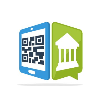 Vector illustration icon with the concept of scanning QR codes with smartphone to access banking information