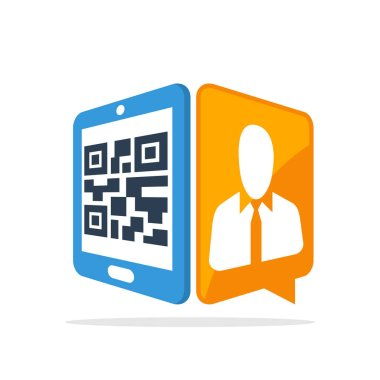 Vector illustration icon with the concept of scanning QR codes with smartphones to access employee data information