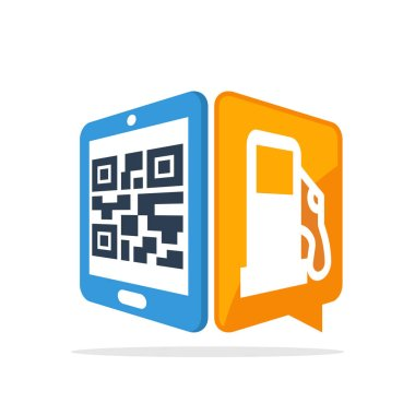 Vector illustration icon with the concept of scanning QR codes with a smartphone to access the gas station service