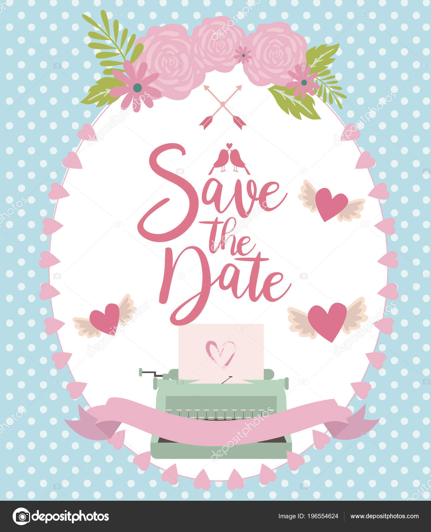 Date Card Invitation Greeting Card Wedding Day Bridal Shower Vector