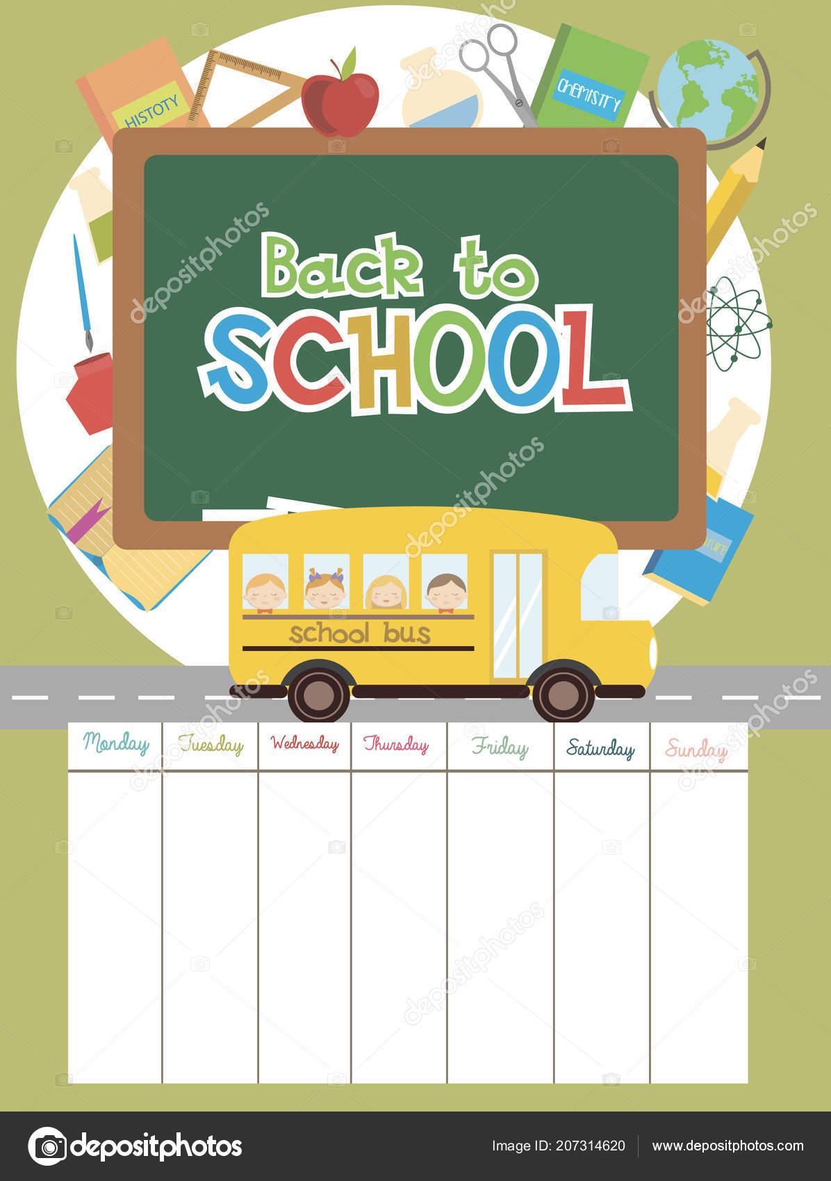 cute school schedule weekly planner back school vector illustration