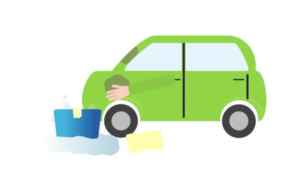 Koncept animované mytí aut. Zelené auto, žlutá utěrka a modrý kbelík