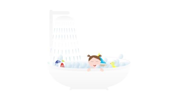 Vana se sprchou, malé roztomilé dítě dívka a hračky - člun, kachna a míč