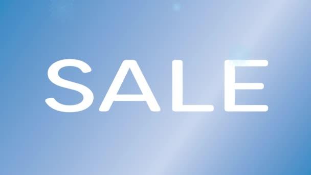 Animované pozadí prodej zimní. Modré pozadí, sněhové vločky a slovo prodej v bílém