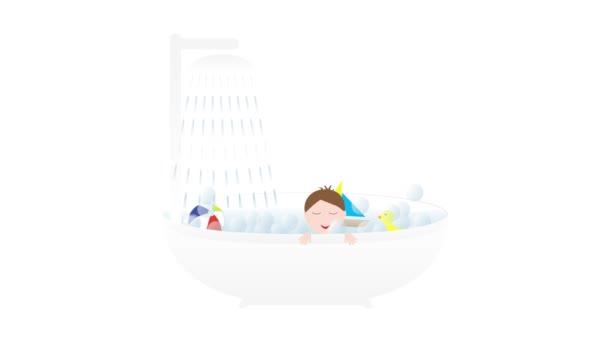 Vana se sprchou, malé roztomilé dítě chlapce a hračky - člun, kachna a míč